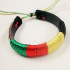 Teen Leather Cord Bracelet w/ Mixed Rasta Color Cords .54 ea