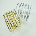 "1.5"" Gold & Silver Slinky Style Metal Bangles Cool Look .54 ea"