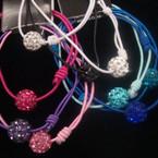 3 Line Cord Bracelet w/ Triple Shamballa Crystal Ball .54 ea