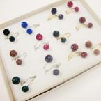 Gold & Silver Wire Wrap Fashion Ring w/ Crystal Stone Shamballa Ball Dark Colors .54 ea