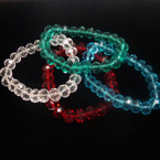 10MM Asst Color Crystal Stone Stretch Bracelets .54 ea