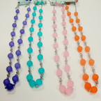 "30"" Silver Chain Neck Set w/ Frosted Beads Mixed Colors .54  per set"