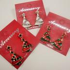 "1"" Gold Crystal Stone & Eposxy Christmas Tree Earrings .54 ea"