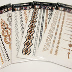 Trendy Hot Seller Metalic Flash Tattoos 12 mixed styles .66 per card