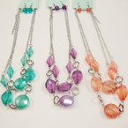 "18"" DBL Strand Silver Chain Neck Set w/ Acrylic Beads .54 ea set"