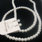 """30"""" All White Glass Pearl Fashion Neck Set Only .56 ea"""
