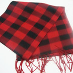 "11"" X 60"" Fleece Feel Acrylic Fabric Scarf Mixed Colors Checker Patterns   .79 ea"