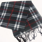 "11"" X 60"" Fleece Feel Acrylic Fabric Scarf Mixed Colors Plaid Pattern  .79 ea"