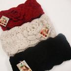 """4"""" Wide Winter Knit Headwrap w/ Deco Flower  $ 2.00 ea"""