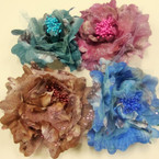 """5"""" Textured Silk Flower Bow w/ Pearl Center 3 in 1 Use Winter Colors  .54 ea"""