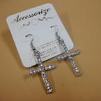 "1.5"" Silver Cross Earring w/ Clear Crystals .54 ea"