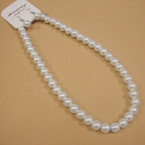 "16"" 10MM All White Glass Pearl Neck Set .54 ea"