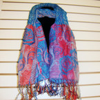 "12"" X 72"" Designer Look Crinkled Multi Color Pattern  Scarf Only $ 3.00 ea"