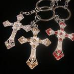 """2"""" Silver Metal Cross Keychain/Purse Charm  w/ Crystal .54 ea"""
