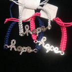 Macrame Bracelet w/ Crystal Stone Hope Charm .54 ea