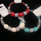 Crystal & Oval MBL Bead Fashion Stretch Bracelet 3 colors .56 ea