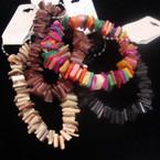 4 Mixed Color Chip Stone Stretch Bracelet .56 ea