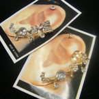 Love Theme Gold & Silver Ear Cuff w/ Crystals .54 ea
