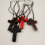 "DBL Leather Cord Necklace w/ 2.25""  Wrapped Cord Wood Cross  .54 ea"