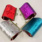 "3"" Metalic Color Snap Closure Coin Purse w/ Butterfly Print .56 ea"