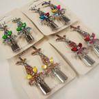 "2 Pack 3"" Silver Metal Salon Clip w/ Colored Stones (243).56  ea set"