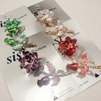 "Lavish 2.25"" Colorful Rose Broach w/ Crystals .56 ea"