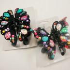 """3"""" All Black Jaw Clip w/ Multi Color Stones .52 ea"""