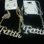 """20"""" Gold & Silver Chain Necklace Set w/ Faith Pendant .56 per set"""