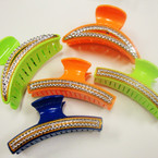 """4"""" Asst Color Stone Look Fashion Jaw Clips 24 per pack ONLY .28 each"""