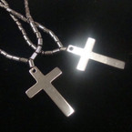 "2 Pack 22"" Hematite Cross Necklaces (484)  .54 per set"