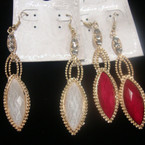 """3"""" Gold & Silver Fashion Earring w/ Colored Stone & Crystals .54 ea"""