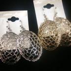 """1.5"""" Cast Metal Gold & Silver Turtle Shell Look Earring .54 ea"""