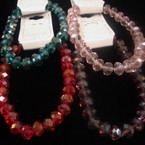 7MM Glass Crystal Beaded Stretch Bracelets Mixed Colors .56 ea