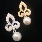 """1.5"""" Matt Gold & Silver Fleur De Lis Earring w/ Pearls .54 ea"""
