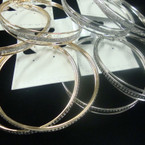 """2.75"""" Fashion Gold & Silver Hoop Earrings 2 Styles per dz .54 ea"""