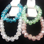 8MM Glass Crystal Beaded Stretch Bracelets Mixed Colors .56 ea