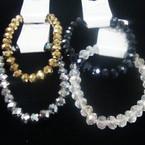 7MM Glass Crystal Beaded Stretch Bracelets Metallic Colors,Clear,Black  .56 ea