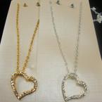 Gold & Silver Chain Neck Set w/ Elegant Crystal Stone Heart Pend. .54 ea set