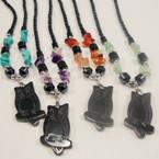 "18"" Hematite Necklace w/ Semi Precious Stones & Owl Pendant .75 ea"