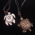 DBL Leather Cord Necklace w/ Turtle Pendant 2 styles .54 ea
