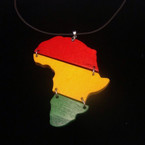 "Black Leather Cord Neck w/ 3"" 3 Tier Rasta Color African Map .54 ea"