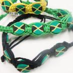 Macrame Cord Bracelet w/ Jamaica Flags 3 colors  .45 ea