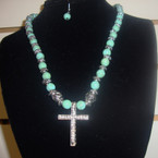 "18"" Turquoise & Silver Bead Neck Set w/ Crystal Silver Cross .56 ea set"