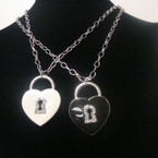 "16"" Silver Chain Neck Set w/ Colored Locket Heart w/ Crystals .54 ea"