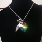 "24"" Silver Chain Neck w/ Glass Heart & Charms .54 per set"