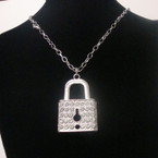 "18"" Silver Chain Necklace Set  w/ Crystal Stone Lock Pendant .54 ea"