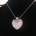Silver Ball Bead Necklace w/ USA Crystal Stone Heart Pendant .50 ea