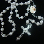 "36"" White Rose Beaded Rosary w/ Silver Cross w/ Jesus .54 ea"
