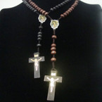 "36"" Wood Beaded Rosary w/ Virgin Mary w/ Wood Cross w/ Jesus (175)  .54 ea"