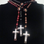 "36"" Wood Beaded Rosary w/ Jesus Pic w/ Wood Cross w/ Jesus   .54 ea"
